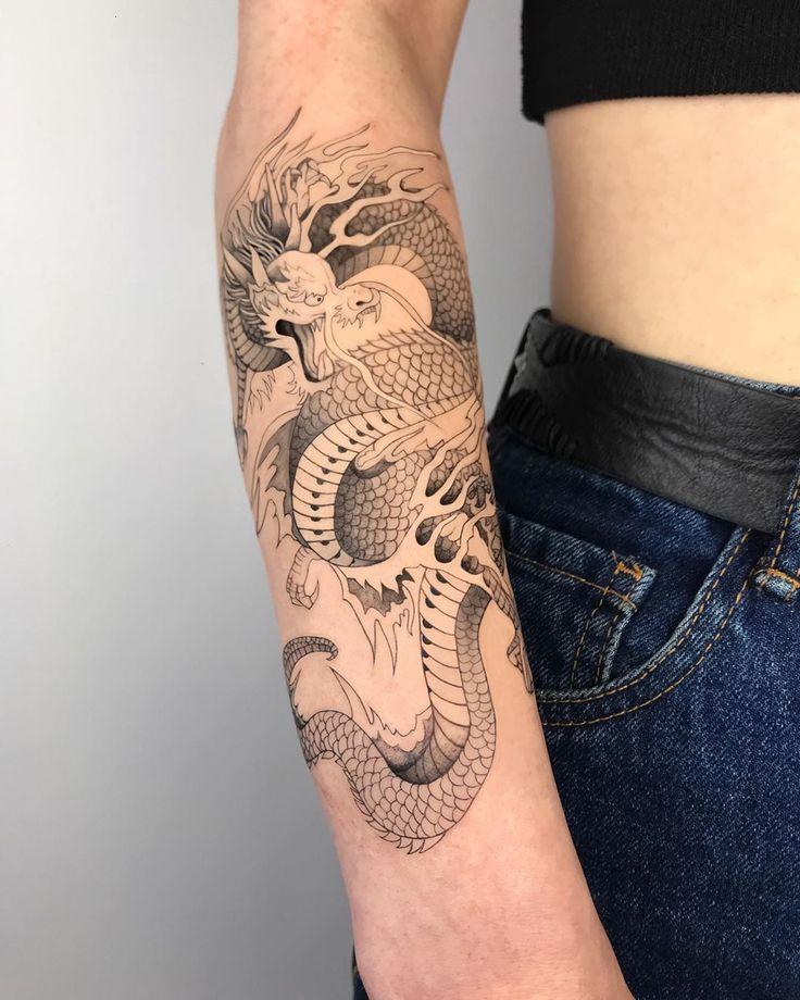 21++ Amazing Dragon wrapping arm tattoo image ideas