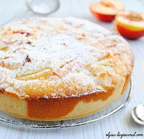 Персиковый пирог с заливкой
