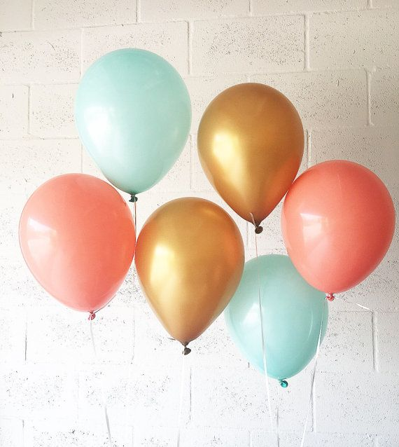 Coral Mint Gold Latex Balloons Coral Mint Gold by OhhHowCharming