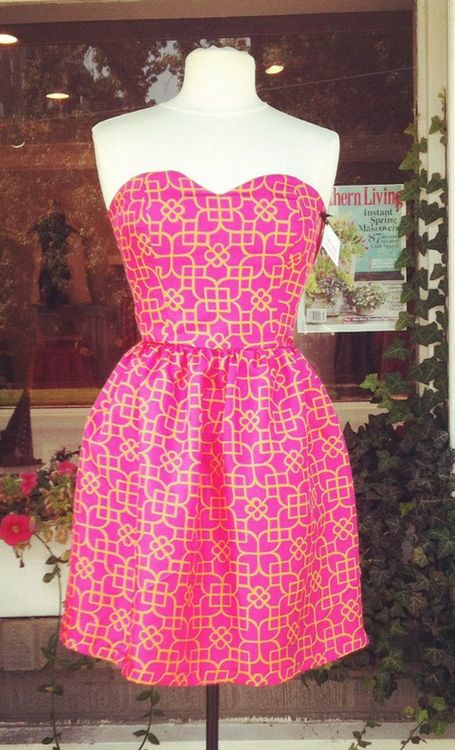: Summer Dresses, Strapless Dresses, Pink Dresses, Color Combos, Cute Dresses, Hot Pink, Pink Strapless, Graphics Pink, Patterns Pink