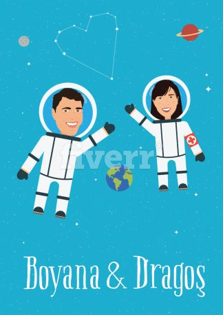 Get an awesome cartoon illustration of you and your significant other    https://www.fiverr.com/georgemussel/make-a-valentines-day-cartoon-portrait    #caricature #anniversary #wedding #weddinginvitation #weddinggift #illustration #geeky #space #astronaut #vectorart #gift #cute #giftidea #anniversarygift #card #love #couple #fiverr