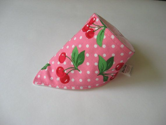 Baby Bandana Bib, Dribble Bib, Cherry Bandana, Baby Shower Gift, Baby Bandana, Retro Baby Bandana, Drool Bandana, Pink Cherries