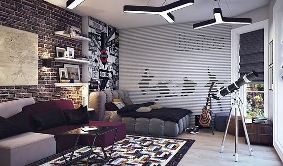 super cool teen boy bedroom ideas modern furniture brick wall floating shelves efo pinterest. Black Bedroom Furniture Sets. Home Design Ideas