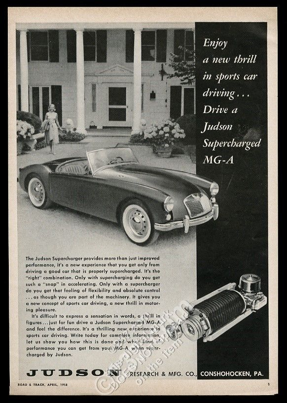 1958 MG MGA car photo Judson Supercharger vintage print ad