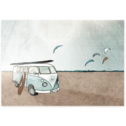 Bulli T1 Illustration Kitesurfen Postkarte [Binweg]