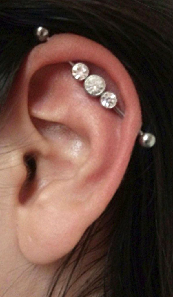 Body Jewelry Crystal Industrial Barbell Scaffold Cartilage Steel Ear Body Piercing Bar Body Piercing Jewelry