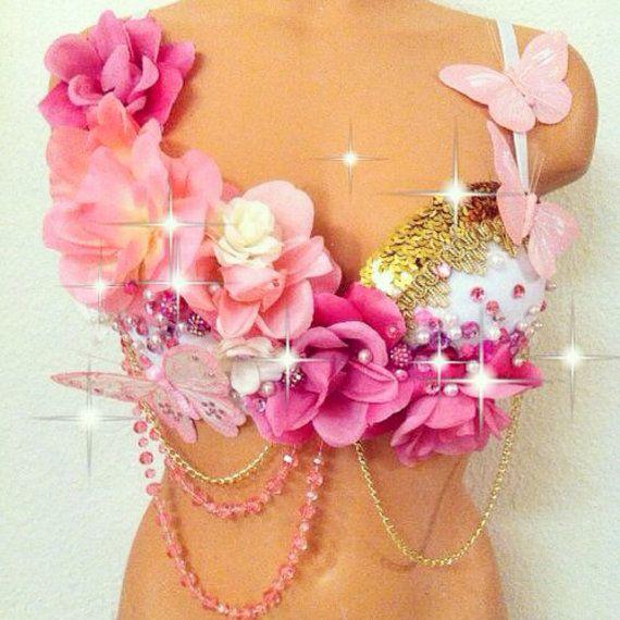 Pink & Gold Butterfly Garden Rave Bra by TheLoveShackk on Etsy