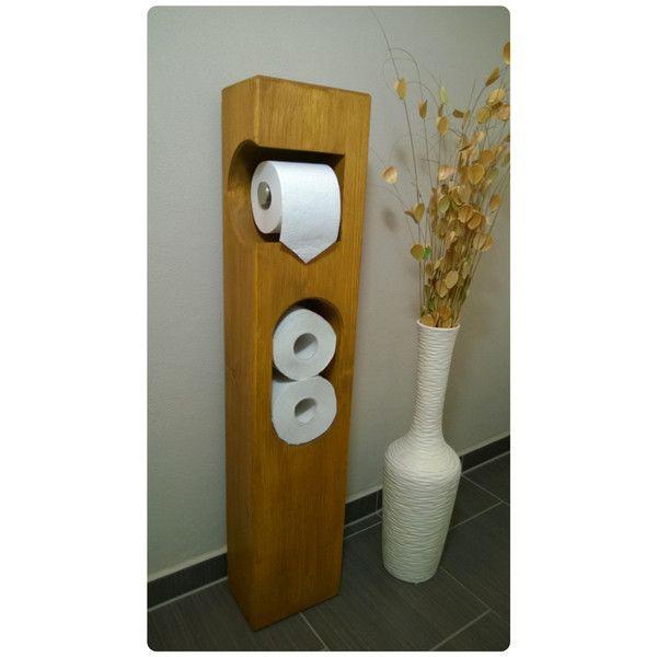 Aufbewahrung - Toilettenpapierhalter Holz stehend - ein Designerstück von mit_Herz_und_Holz bei DaWanda