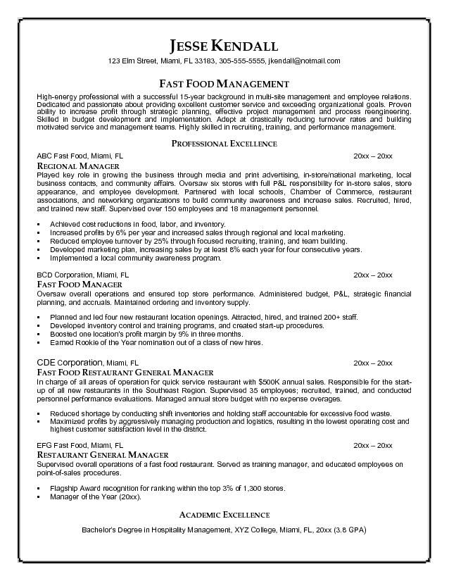 sample restaurant management resume
