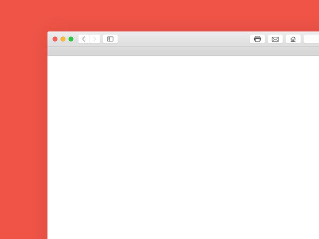 A Yosemite Safari browser mockup created with vector shapes. Free PSD released by Hein Maas.