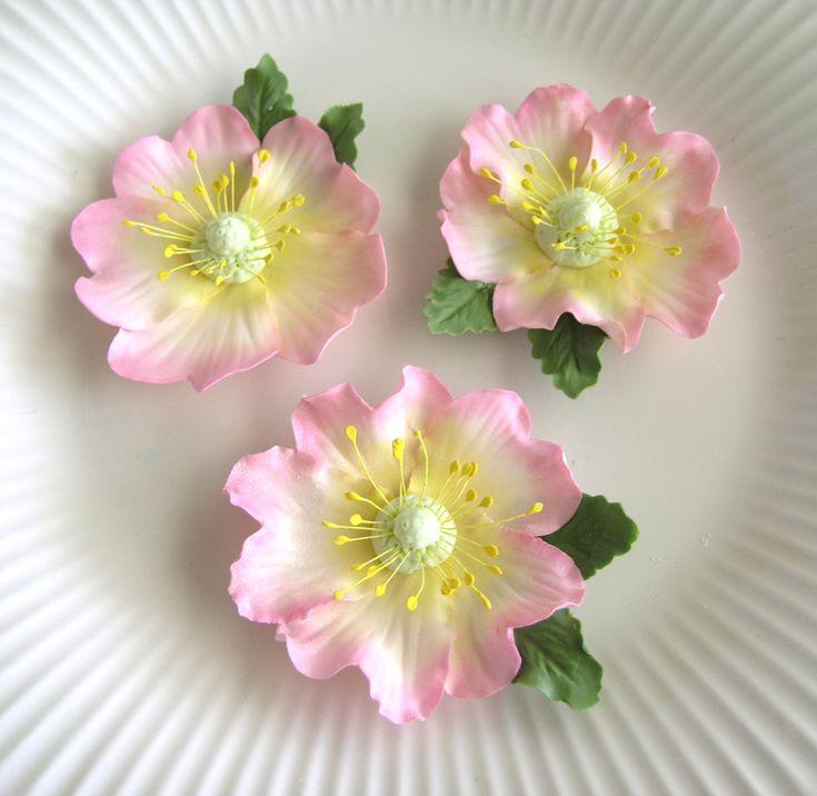 PINK BRIAR ROSE Gum Paste Flowers / Edible Cake by lenabender48