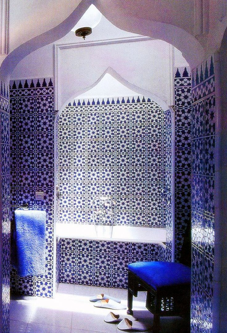 Moroccan Style Bathroom In Sapphire Blue And White Mosaic