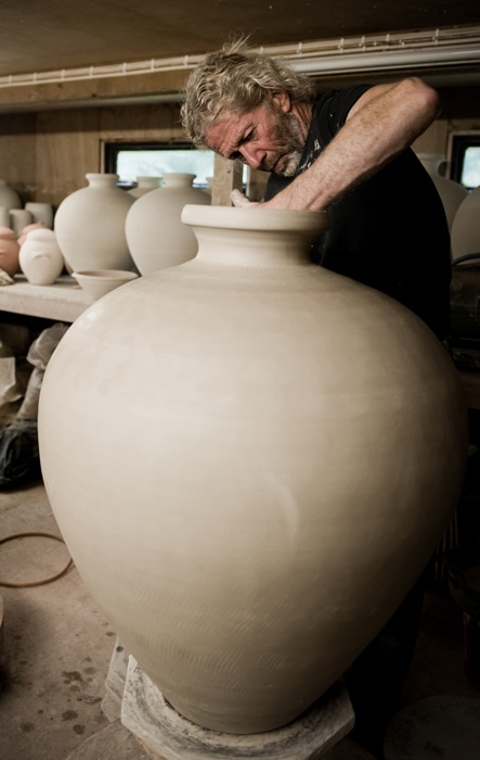 Look at the concentration...    See new pots from Svend's 2012 show here: http://www.goldmarkart.com/ceramics/potters/svend-bayer.html    Watch Svend talk about the making of large pots here: http://www.goldmarkart.com/scholarship/making-large-pots-by-svend-bayer/