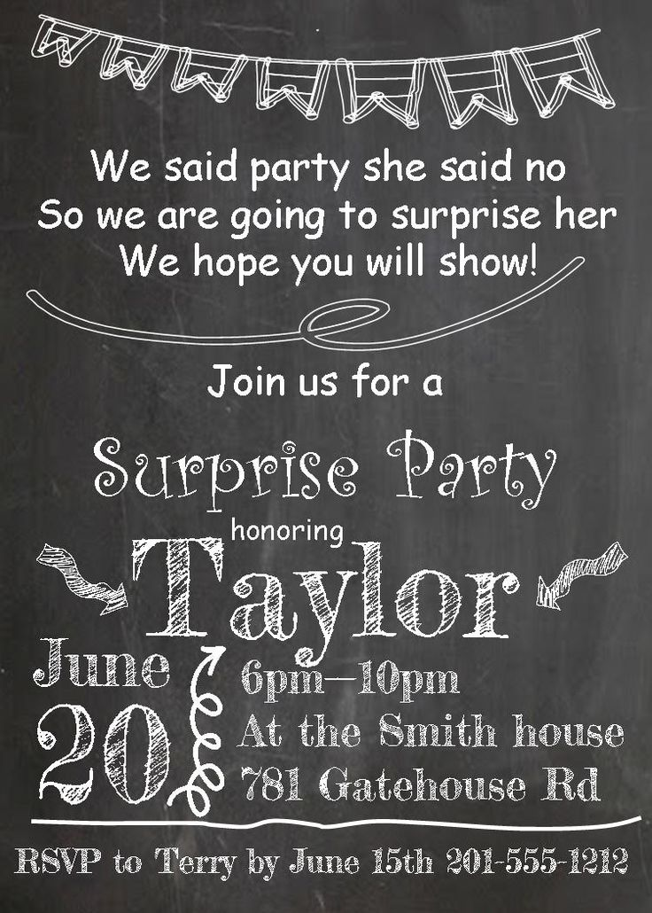 Best Surprise Party Invitations Images On   Surprise
