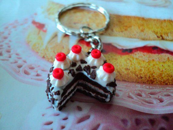 key chain black forest cake miniature polymer clay by EVELjewlery