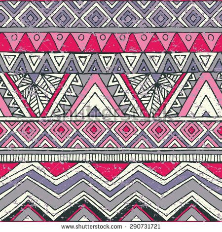 Seamless decorative ornamental geometric pattern with image of a zigzag, triangle, rhombus, line. Primitive outline pictures by hand. Folk style. Grunge texture. Vector illustration.