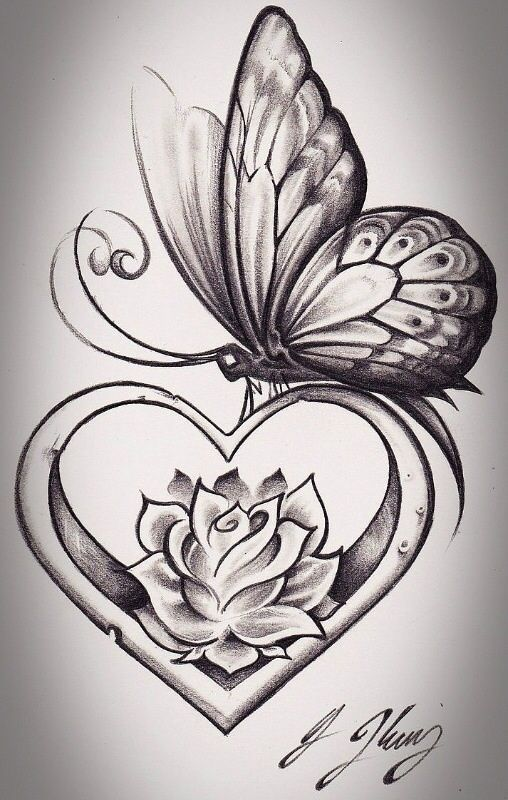get rid of the butterfly and i love the   flower inside the heart !