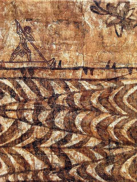 Canoe Paddler on Tapa Cloth from Tonga by amy.swenson55, via Flickr