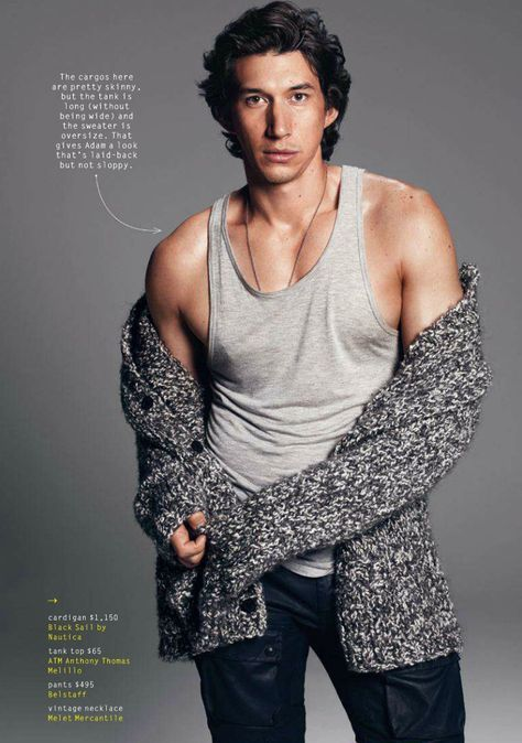 Adam Driver by Paola Kudacki for GQ, July 2014, tanktop, clean shaven, nice