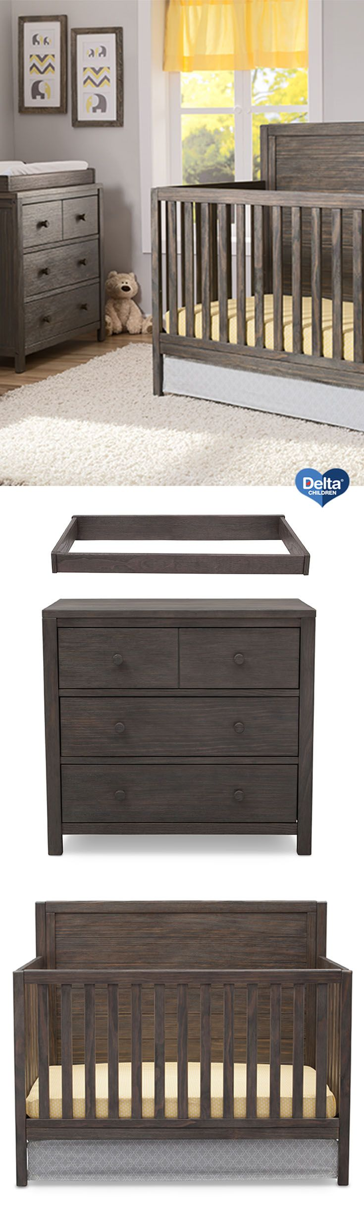 Make your baby feel at home with the Cambridge Collection from Delta Children! Featuring  unique wire brush finish in Rustic Grey and clean, modern lines, this sturdy crib, dresser, and changing top work in a boy's or girl's nursery. The Cambridge 4-in-1 Crib is JPMA certified, is adjustable to three mattress height positions and converts into a toddler bed, daybed, and full size bed. The coordinating Cambridge 3 Drawer Dresser adds storage space and style! #nursery #rustic #wood…