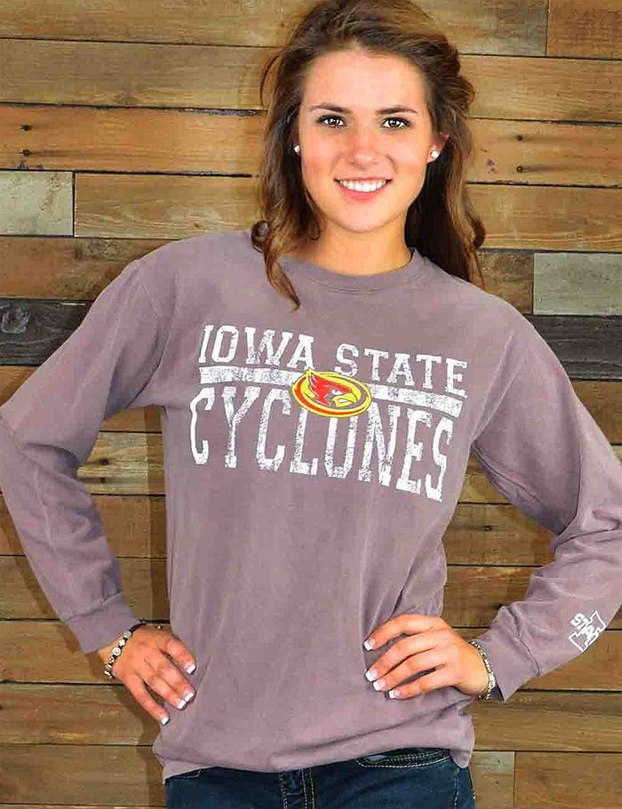 Love your Iowa State Cyclones? Show your spirit in this brand new pigment dyed shirt, a Barefoot Campus Outfitter exclusive, perfect for chilly ISU nights. Go Cyclones!