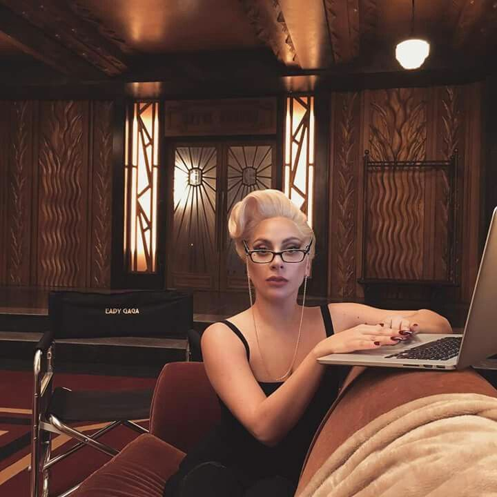 Lady Gaga during takes on the set of the Hotel Cortez