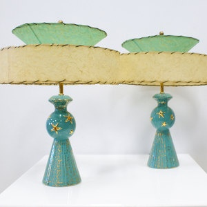 Mid-Century Modern •~• aqua/teal/turquoise and gold star lamps with fiberglass shades