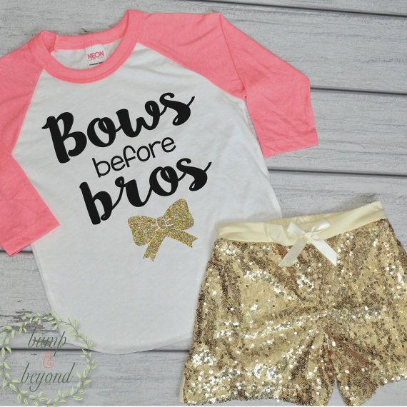Bows Before Bros Shirt Toddler Raglan Baby Girl Clothes Gold Sequin Shorts Hipster Baby Clothes Girl Gift Toddler Girl Clothing by BumpAndBeyondDesigns
