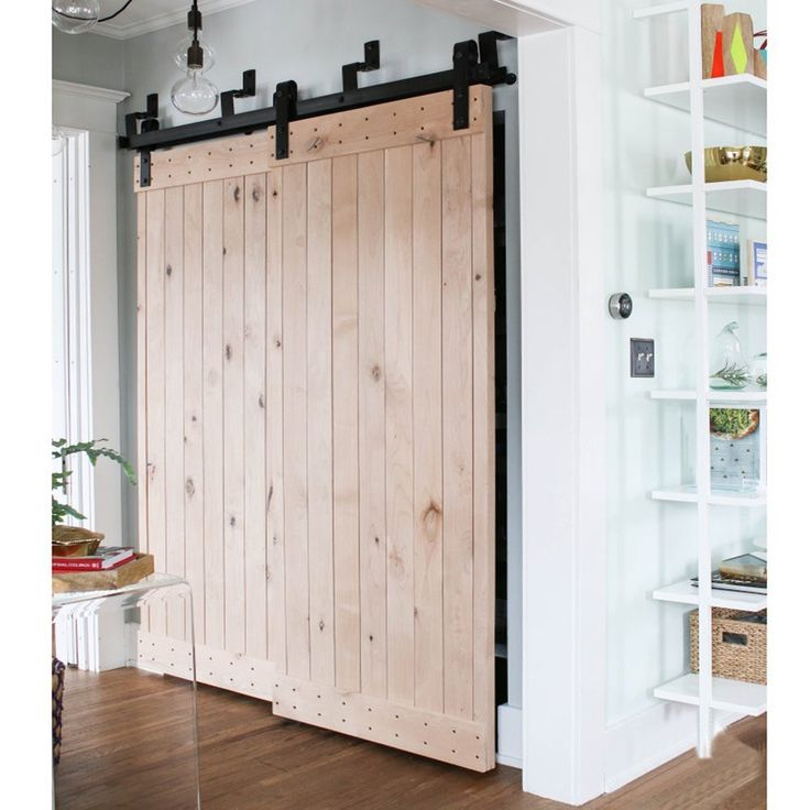 Bypass Sliding Barn Door Hardware Black Rustic Closet Interior Quiet Glide Track Rail Rolling Kit Set Industrial Strength, Easy to Follow Installation Manual Included