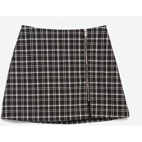 Zara Check Skirt (£24) ❤ liked on Polyvore featuring skirts, checked skirt, zara skirt, checkerboard skirt and checkered skirt