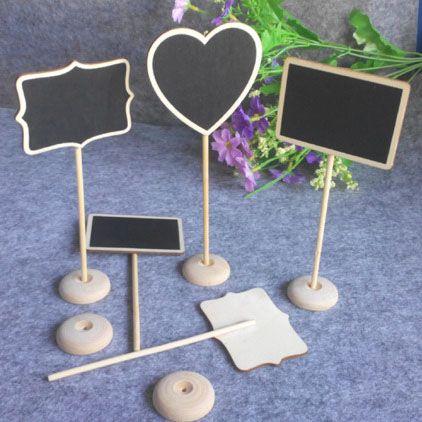 10ks / lot 3 štýly Mini drevená tabuľa Wood Tabule Tabuľka Message Počet Tag Miesto dekorácie Držiteľ karty svadobné udalosti