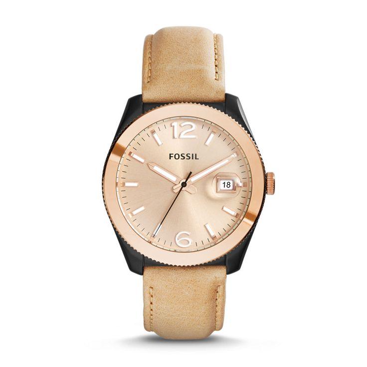 ES3777 - Perfect Boyfriend Three-Hand Date Leather Watch - Sand