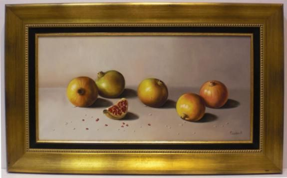 R. Carbonell : Fruits. Medium: Oil on canvas Measurements (cm): 77x47 Canvas measurements (cm): 60x30 Interior frame: Yes. A painter from Alicante who pursued his studies in his city's School of Art. His style of brushwork is heavy and daring which emphasises the warm tones.Marvellous still life with a really excellent quality-price ratio.  $410.67