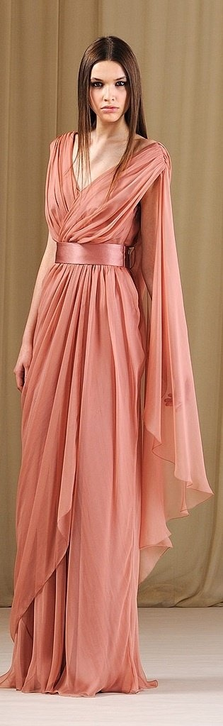 alberta ferretti 2011 This gown resembles the 1930s. A resembles is the dress is long and lose fitting. The bodice is draped. 4/2/15