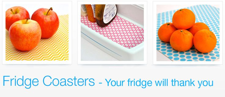 Fridge Coasters...never clean out those drawers again!