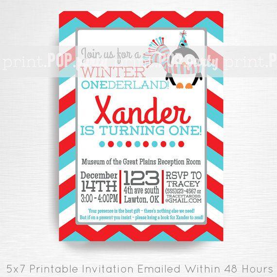 Penguin Birthday Party Printable Invitation - YOU Print