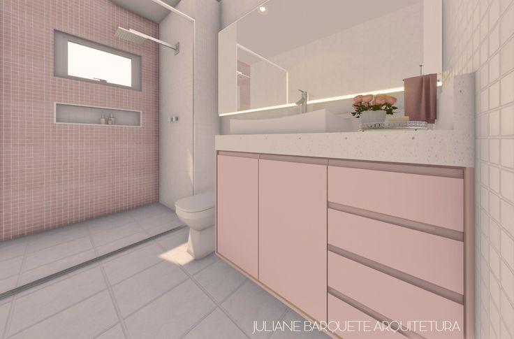 Banheiro cheio de graça para uma menina 🌼 A cor de destaque é o rosa, que proporciona ao projeto toda a delicadeza que este ambiente merece. A fita de LED atrás do espelho, proporciona um efeito de iluminação indireta bem moderno e que está sendo muito utilizado!