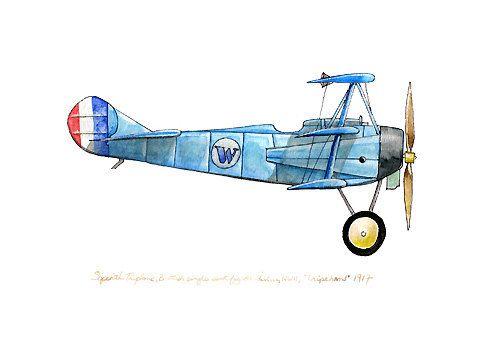 Sopwith Triplane vintage airplane watercolor by FlightsByNumber