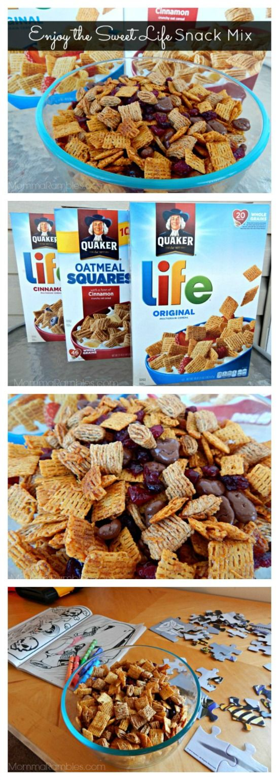 Think cereal is only for breakfast? Not quite! Check out my delicious #recipe for 'Enjoy the Sweet Life' Snack Mix! Using Quaker® Life & Oatmeal Squares, I created a yummy snack mix my son enjoys while he enjoys activities such as putting a puzzle together or coloring in his activity books. I found all my ingredients at Walmart!  #LoveMyCereal #QuakerUp #spon