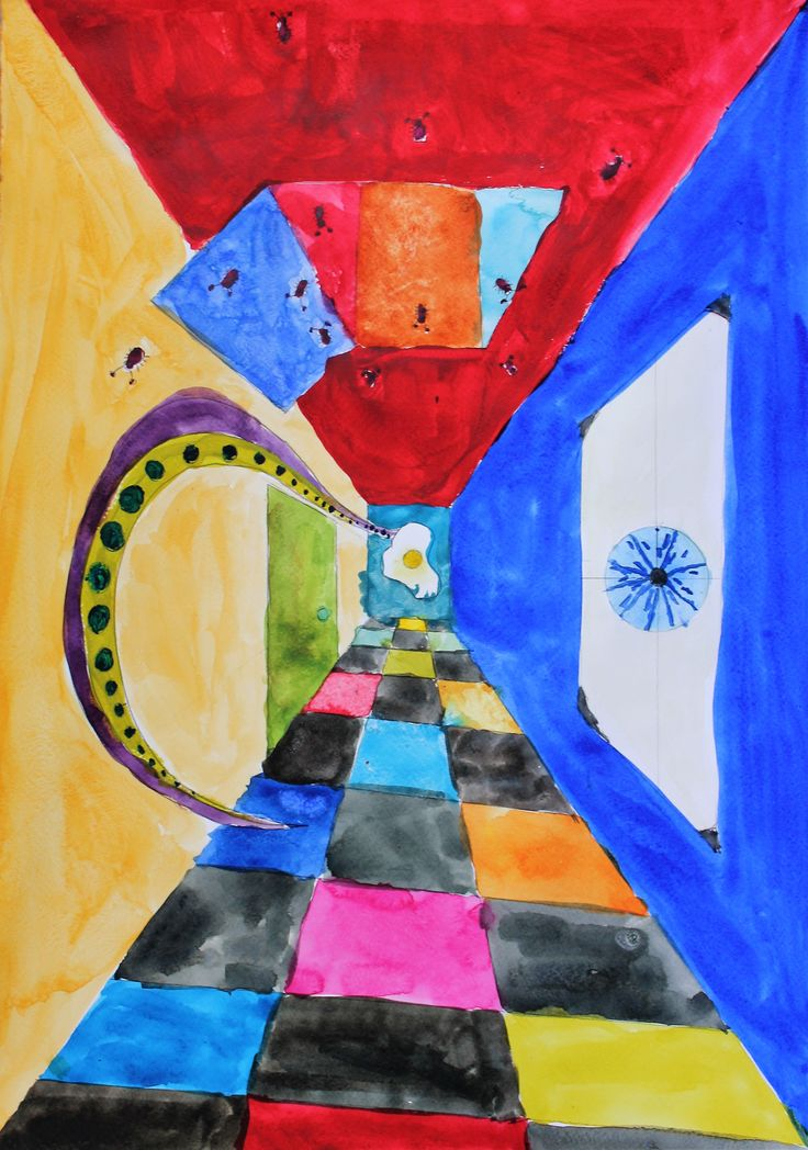 Watercolour painting, using perspective & surrealism, by Isabella