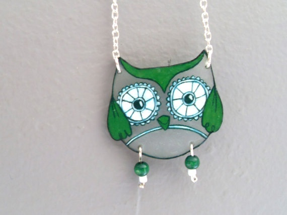 Green owl necklace - shrink plastic and wooden beads
