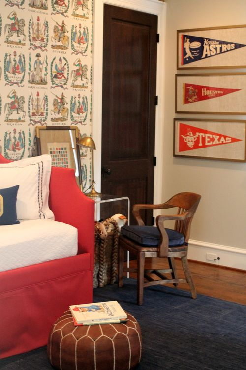 Little boys room decorated with brunschwig fils battle of valmy wallpaper