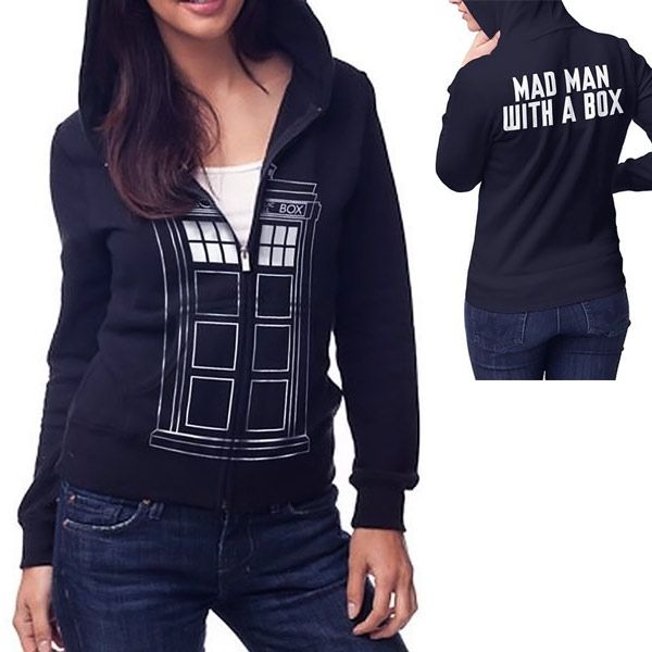 If you are looking for a stylish hoodie to keep you warm, but want something with some timey-wimey flair, check out this Doctor Who TARDIS Follow Me Juniors Navy Zip-Up Hoodie. Are you the kind of Doctor Who fan that would follow the Doctor anywhere? Then this hoodie is for you. The Doctor Wh