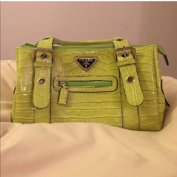 Prada purse Green prada purse! Last 2 pictures are the flaws. Will negotiate price if reasonable Prada Bags Shoulder Bags