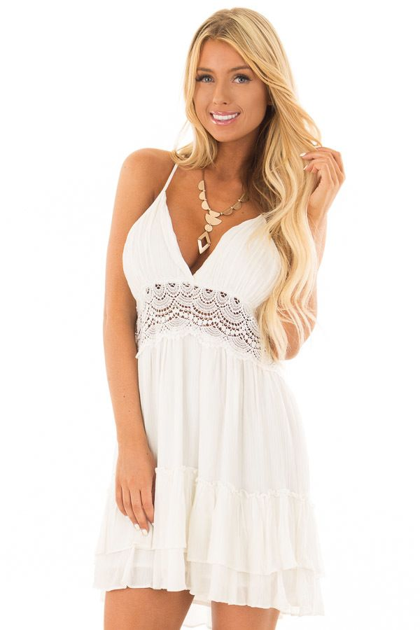 6967c966f1e Lime Lush Boutique - Off White Crochet Lace Halter Dress with Ruffle Detail