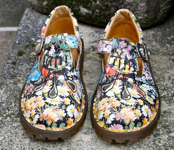 90s Grunge/Punk Revival Floral Doc Martens Mary by citizenrosebud, $99.00
