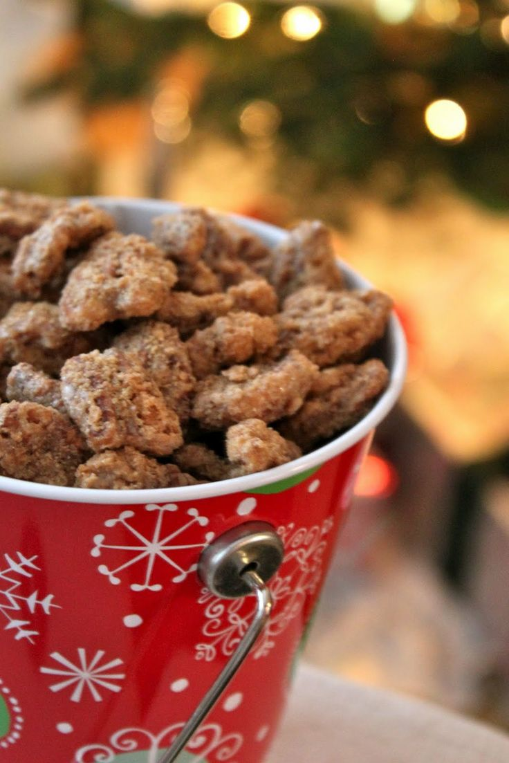 Cinnamon Sugar Pecans. Definitely going to put these into our holiday thank you bags.
