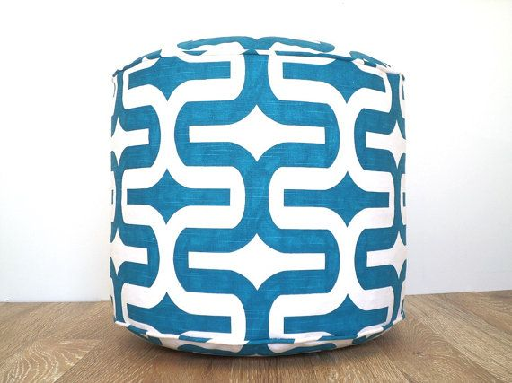 """Turquoise floor poof, round pouf ottoman 18"""", teal and white pouffe, geometric bean bag chair for children room, round floor cushion on Etsy, $95.00"""