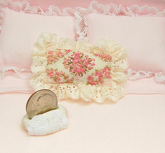Handmade Shabby Chic Pillows : Dollhouse Pillow HANDMADE Shabby Chic Hand Embroidered Peachy Pink Roses With Cream Lace Trim ...