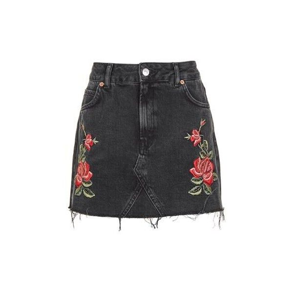 Topshop Petite Rose Embroidered Skirt (24.185 CRC) ❤ liked on Polyvore featuring skirts, washed black, embellished skirts, rosette skirt, topshop skirts, rose skirt and petite skirts
